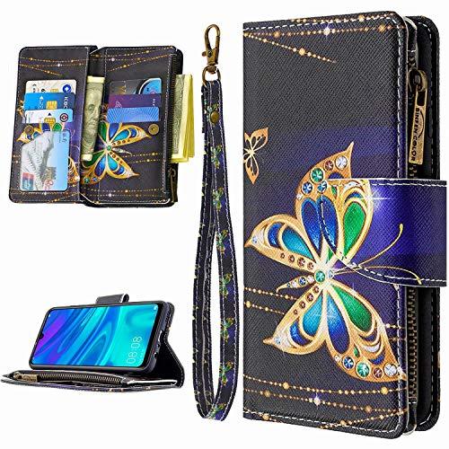 Miagon 9 Kartensteckplätzen Lederhülle für Huawei Y6P 2020,Bunt Reißverschluss Flip Hülle Wallet Case Handyhülle PU Leder Tasche Schutzhülle,Diamant Schmetterling