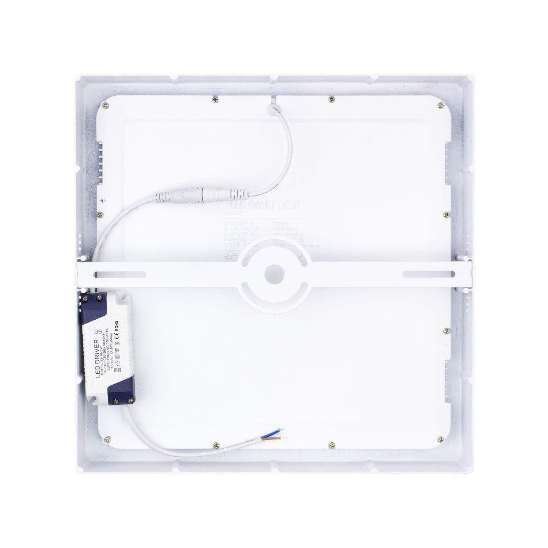 LEDKIA LIGHTING Plafón LED Cuadrado 24W Blanco Frío 6000K - 6500K: Amazon.es: Iluminación