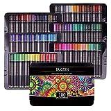 180 lápices de colorear Juego de lápices profesionales Caja de hojalata perfecta para libros de colorear para adultos Dibujo, bosquejo y sombreado de estudiantes o niños Material escolar de arte