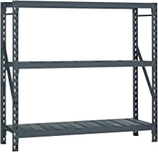 Edsal ERS722496A E-Rack Bulk Storage Rack with Steel Decking, Add-On Type, 3 Shelves, 2000 lb. Capacity, 72