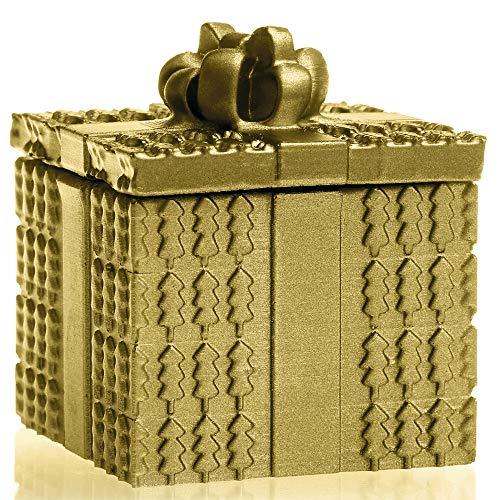Candellana rechteckige Kerze mit Deckel, Geschenk | Höhe: 10 cm | Klassisches Gold | Handgemacht in der EU
