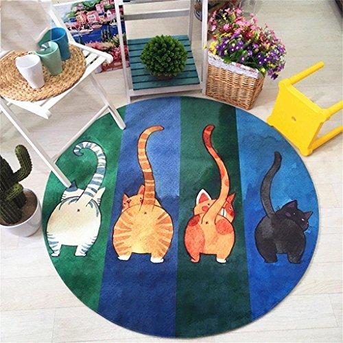 Good thing tapis Tapis de chat rond créative d'individualité de mode, tapis de jeu des enfants de bande dessinée tapis créatifs tapis mignons tapis (taille : Diameter 120cm)