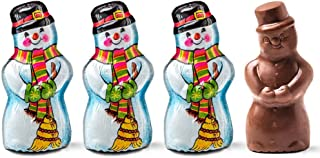 Highly Detailed, Semi-solid Premium Milk Chocolate Snowman Wrapped In Italian Foil - 1 1/2 OZ (4 Pack)