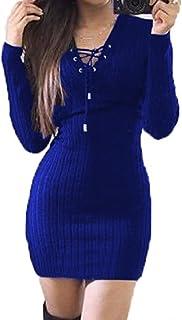 Bigood Women Ladies Tight Long Sleeve Lace up Sweater Bodycon Dress Mini Skirt