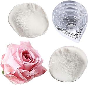 10 Pcs Austin Rose Cutter Set and 2 Pcs Rose Petals Shape Silicone Fondant Mold Veining Petal Sugar Flower Making Tool Cake Decorating Gumpaste Flowers Decor Kit