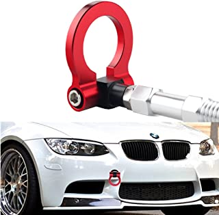 DEWHEL Screw On Aluminum Front Rear Bumper Racing Style Folding Tow Hook for F22 F30 F32 F10 F25 F26 F15 2 3 4 5 Series i3 X3 X4 Z4 and Cooper F55 F56 R60 R61 Red