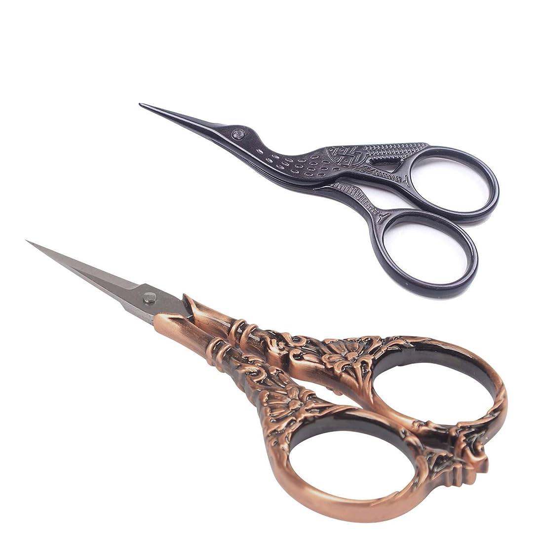 BIHRTC 2 Pairs Scissors Vintage European Style Flower Pattern Scissors Stainless Steel Sharp Tip Stork Scissors Needlework Embroidery Scissors Tailor Craft Sewing Scissors (4.5