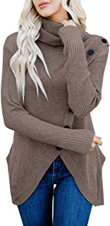 Soulomelody Women Wrap Sweater Turtle Neck Chunky Knit Asymmetric Hem Button Tunic Tops Pullover