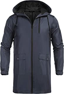 COOFANDY Men's Waterproof Hooded Rain Jacket Lightweight Windproof Active Long Outdoor Raincoat