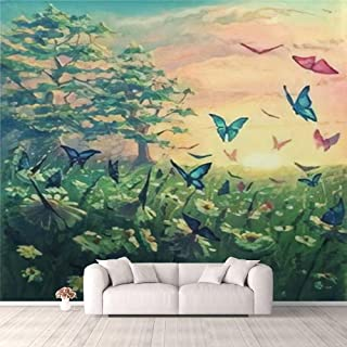 Modern 3D PVC Design Removable Wallpaper for Bedroom Living Room Oil painting sunset landscape on canvas with butterflies ...