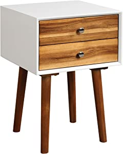 Giantex End Table W/Drawers and Storage Wooden Mid-Century Accent Side Table Multipurpose for Bedroom, Living Room Home Furniture Nightstand (1, White+Brown)