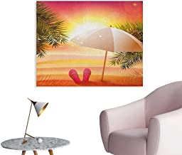 Anzhutwelve Orange Photographic Wallpaper Sunset at The Beach with Flip Flops Umbrella and Palm Trees Illustration Cool Poster Orange and Yellow W48 xL32