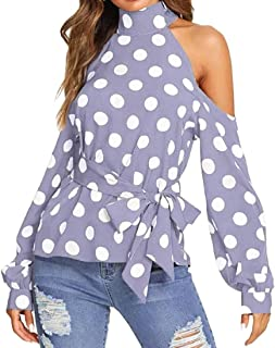 UONQD Women Holiday Dot Print Off Cold Shoulder Tie Belt Blouse Tops