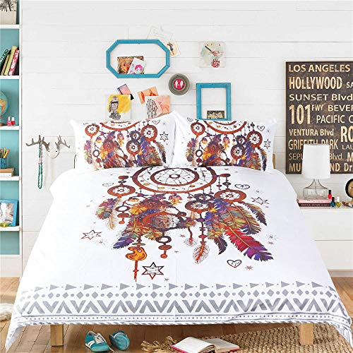 JNBGYAPS 3D Effect Printed duvet cover Multi-circle dream catcher Bedding set with Pillocases (with Zipper Closure) Soft Microfiber Quilt Cover Single 135X200cm