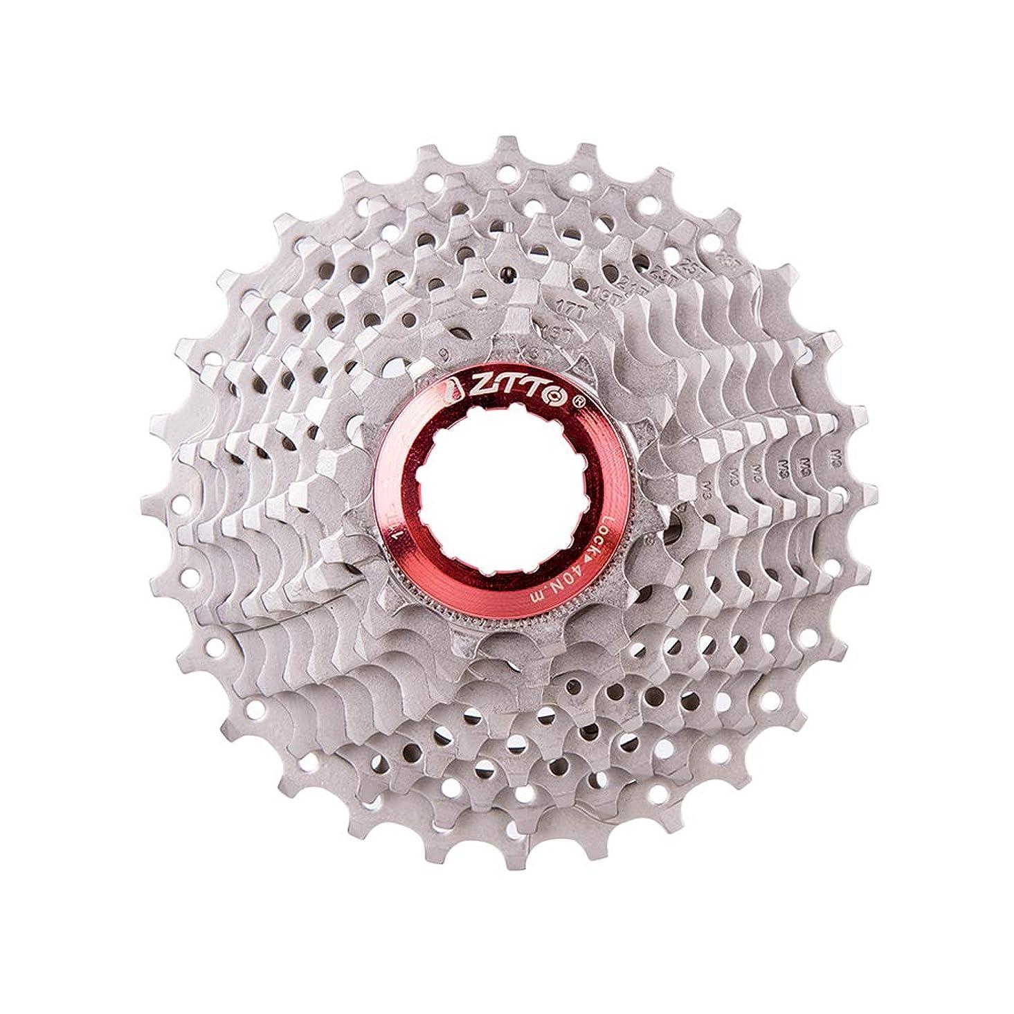 長方形サミット救急車LIOOBO 自転車フリーホイール折りたたみ自転車ロードバイクカセットフライホイールカードタイプフライホイール9スピード11-28Tリアギア(シルバー)