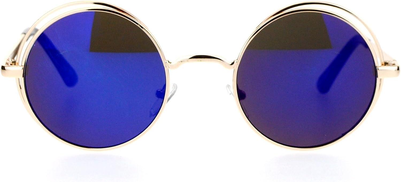 SA106 Revo Mirror Round Circle Len Double Rim Sunglasses gold Navy