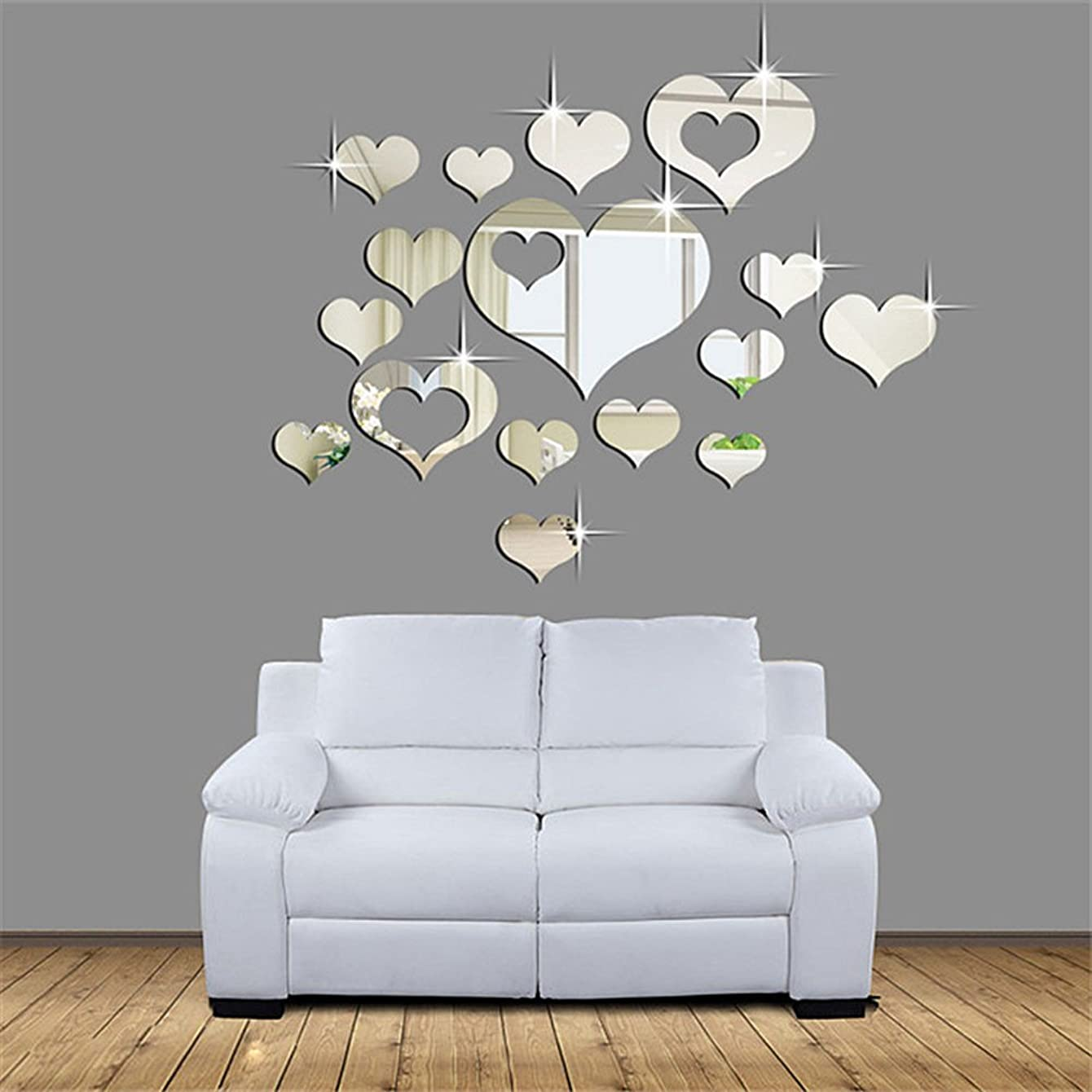 15 Pcs Acrylic Mirror Wall Stickers, E-Scenery Grand Sale! Love Heart Removable DIY 3D Wall Decals Mural Art Wallpaper for Room Home Nursery Wedding Party Birthday Office Window Decor, Silver