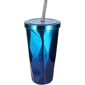 Travel Mug Gradient Cup with Straw Insulated Stainless Steel Tumbler All Seasons Available Coffee Cup Office Mug Cold Cup Drinking Cups Water Bottle