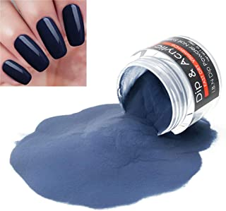 2 In 1 Nail Dip Powder & Acrylic Powder Dark Blue 1 Ounce I.B.N Dipping Powder (Added Vitamin and Calcium) Non-Toxic & Odor-Free, No Need Nail Lamp Dryer (55)