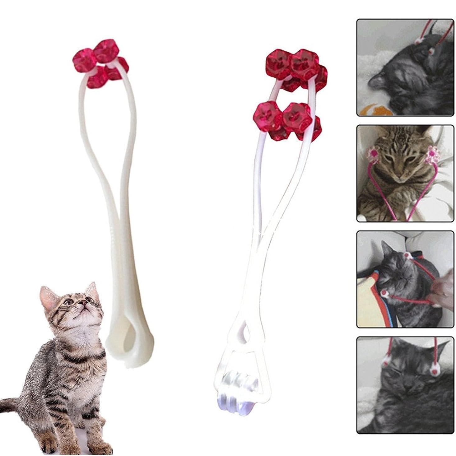ゼリーシャーアパルFelicely 猫のマッサージツール 猫 按摩器 手動式 首 腹部 顔 足 多機能 脂肪とり 運動不足解消 2枚入り (レッド)