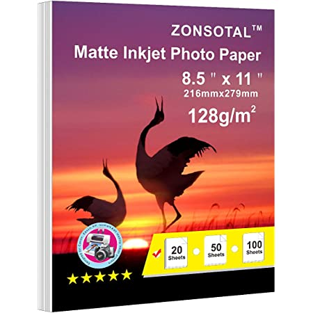 ZONSOTAL 20 Sheets Matte Photo Paper for Inkjet Printers 8.5 x 11 In 128gsm, Thin and Pro Printing Paper for Posters, Brochures, Family Photos, Printing Paper White