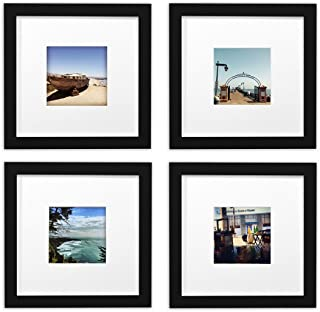 Golden State Art, Smartphone Instagram Frames Collection,Set of 4, 8x8-inch Square Photo Wood Frames with White Photo Mat & Real Glass for 4x4 Photo,Black