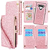 Lacass Zipper Detachable Magnetic Leather Wallet Case Cover Kickstand with 10 Card Slots Holder and Wrist Strap Cash Carrying Pouch for LG Stylo 6 2020 (Bling Rose Gold)