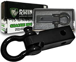 """RHINO USA Shackle Hitch Receiver, Best Towing Accessories for Trucks & Jeeps, Connect Your Rhino Tow Strap for Vehicle Recovery to This 31,418 lbs Capacity Reciever, Mounts to 2"""" Receivers!"""