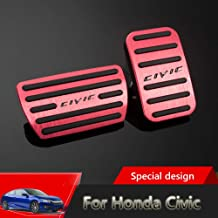 Great-luck aluminium alloy Pedal Covers,Accelerator Pedals Brake Foot Pedal Pads with Rubber Pull Tabs 2 pieces(red) for Honda 10th Civic(2016-2019)