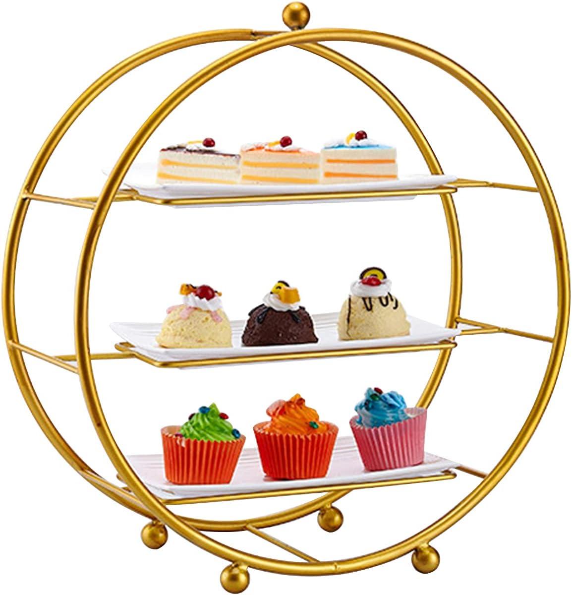 3-Tier [Alternative dealer] Iron Cupcake Stand Metal Stan Dessert Display Seattle Mall Fruit Round