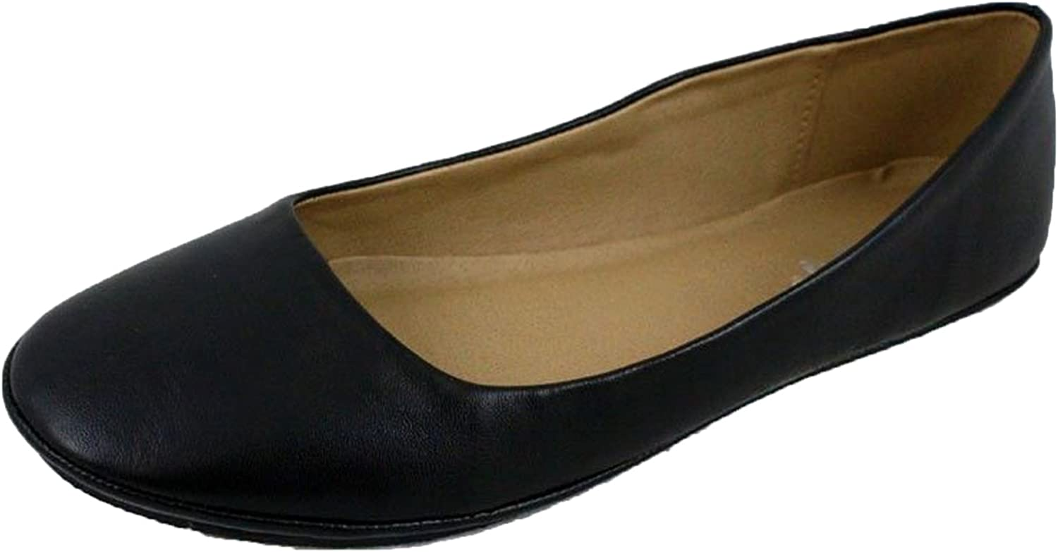 Sully's Afar Simple Ballet Flat Rounded Toe Casual Comfort Womens,Afar Black Pu 8