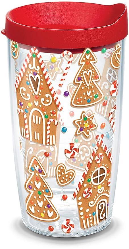 不調和貝殻薬局Tervis 1273231?Gingerbread Houses Insulated Tumbler withラップと赤蓋、16オンス、クリア