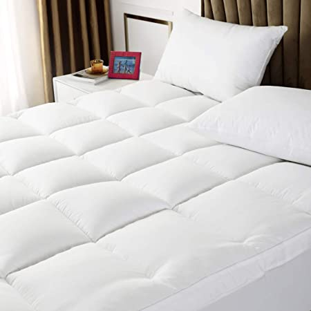 Twin Mattress Topper Extra Thick Mattress Pad Cover 400TC 100/% Cotton Top with Breathable Spiral Fiber Filling