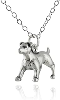 Sterling Silver 3-D Jack Russell Terrier Dog Pendant Necklace, 18 Inch Chain