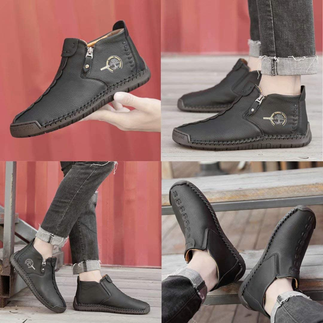 Sufuinu Mens Casual Leather Shoe Slip on Loafers Hand Stitching Flats Oxford Chukka Ankle Boots Fashion Comfort Moccasins Booties for Work Office Dress Outdoor