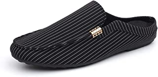 SHENTIANWEI Leisure Driving Loafers for Men Round Toe Mules Casual Walking Shoes Slip on Backless Stitch Stripes Canvas Lightweight Anti-Slip