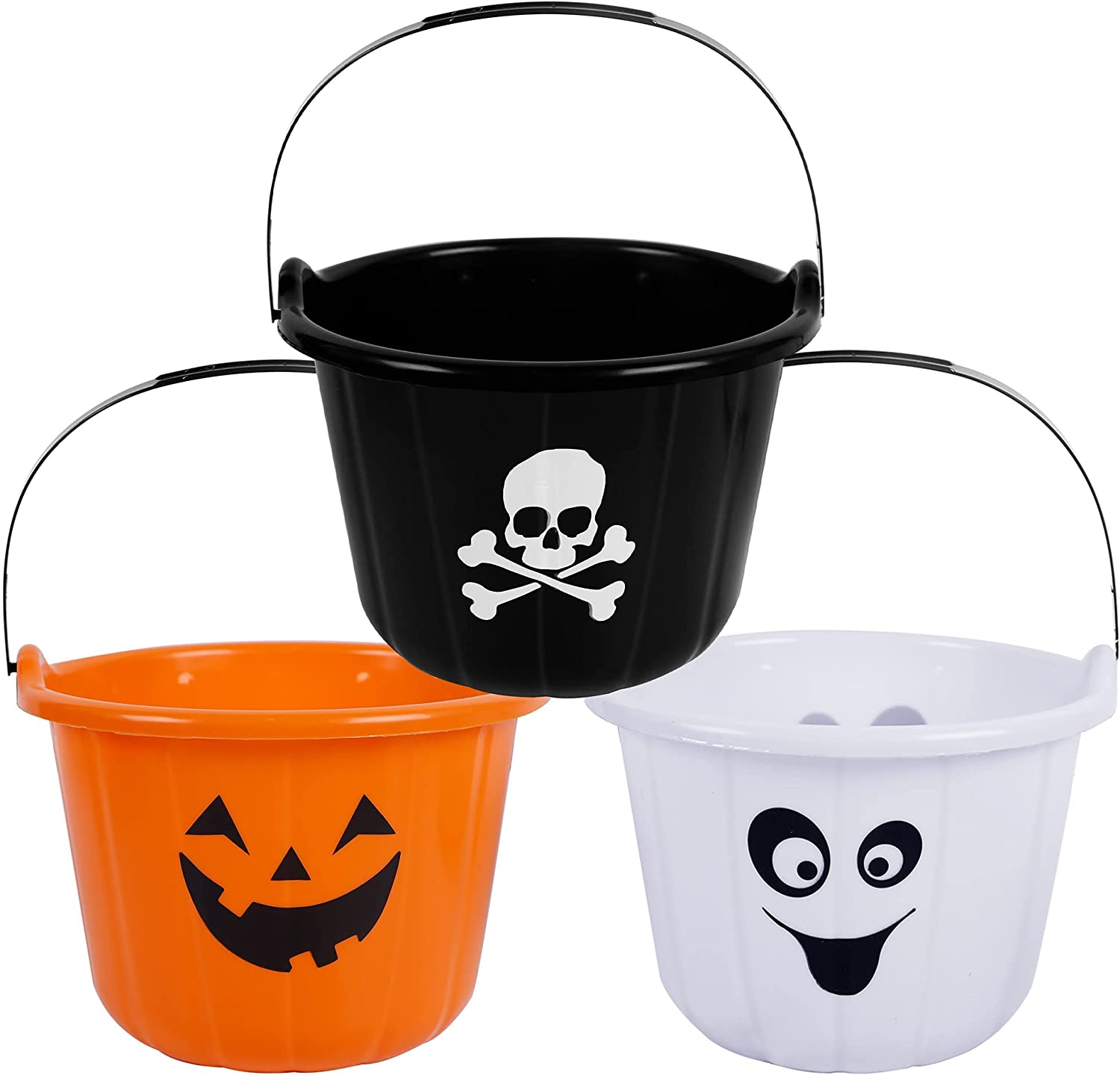 Triumpeek Halloween Candy Baskets, 3 Pack Halloween Trick or Treat Bucket Printed with Jack-O-Lantern, Ghost and Skull, Orang White Black Portable Plastic Candy Pails Set for Halloween Party Supplies, 7.7