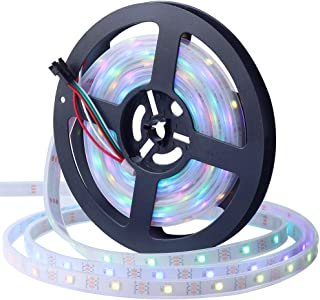 CHINLY WS2812B Individually Addressable LED Strip Light 5050 RGB SMD 16.4ft 150 Pixels Dream Color Waterproof IP67 White PCB 5V DC (White PCB 16.4ft 150leds Waterproof)