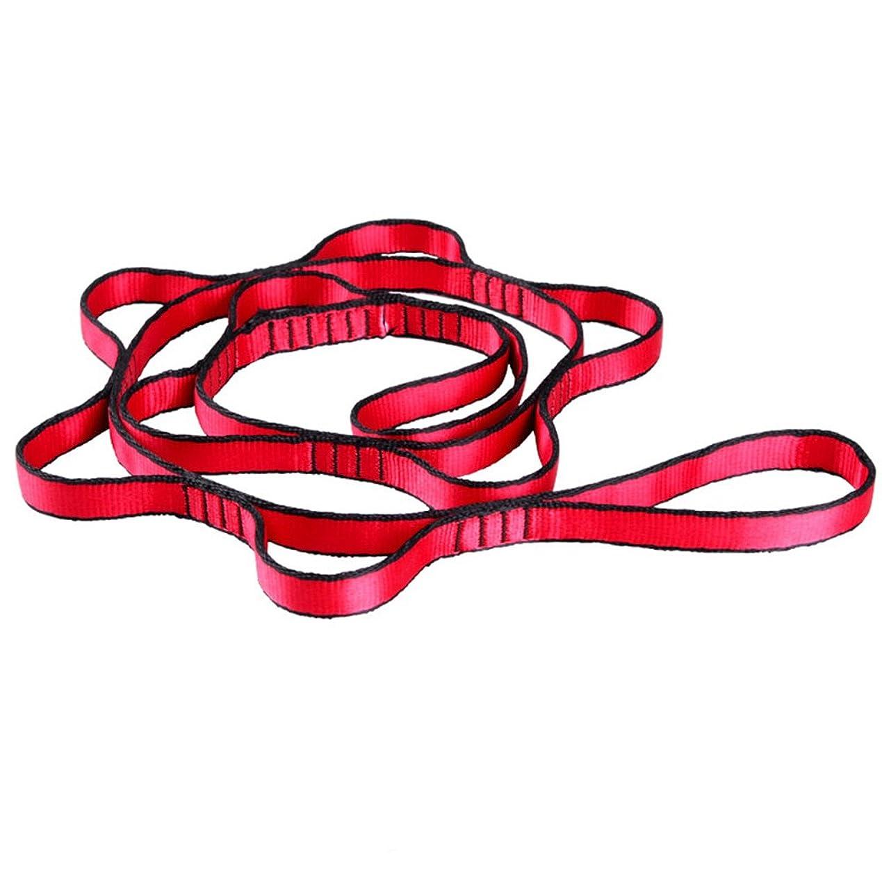 貧しいモチーフ正義クライミングロープ空中ヨガピラティス15KNハンモッククライミング緊急用ロープ耐摩耗性リボン7リング吊りロープ屋外クライミング索具(1.1m赤)