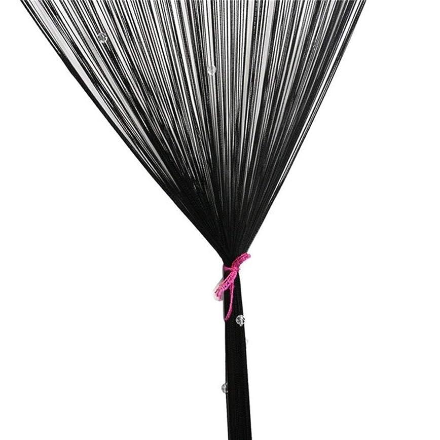 アイデア雇用者事件、出来事Jingjingnet ビーズカーテンストリングドアウィンドウルームクリスタルボールタッセルラインカーテン装飾 (Color : ブラック)