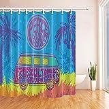 CDHBH Cortinas ducha pintadas a mano estilo hippie estilo vintage para coche furgoneta árbol coco...