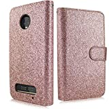 Compatible for Moto Z3 Play Case, Moto Z3 Case, 6goodeals, Glitter Shiny Folio PU Leather Flip Cover Credit Card Slot Protective Case (Rose)
