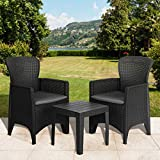 Olsen & Smith 3 Piece 2 Person Weatherproof Rattan Effect Outdoor Garden Lawn Decking Patio Balcony Furniture Set, 2 Chairs and Cushions with 1 Table, Grey
