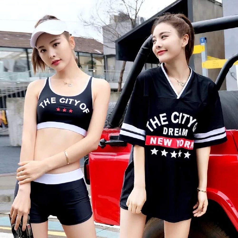 韓国風 水着 レディース 体型カバー タンキニ カバーアップ オーバーTシャツ 半袖 ショートパンツ 3点セット セパレー 運動風 学生水着