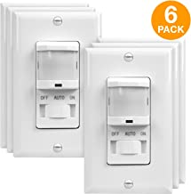 TOPGREENER PIR Sensor Switch, Occupancy Sensor Switch, Motion Sensor Switch, On/Off Override, 500W, 4A, Single Pole, NEUTRAL WIRE REQUIRED, TSOS5, White, 6 Pack