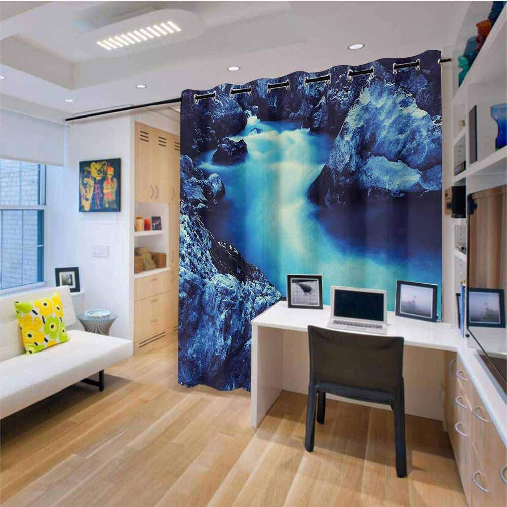 HouseLook - Cortina para Puerta corredera de Patio, diseño de Flores con pájaros, Color Azul Pizarra y ámbar: Amazon.es: Hogar