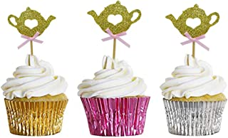 HOKPA Glitter Teapot Cupcake Toppers, Baby Shower Tea Party Food Cake Picks for Kids Birthday (24PCS Golden)