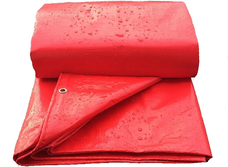 ZEMIN Tarpaulin Waterproof Sunscreen Tent Sheet Roof Windproof DustProof Woven Polyester, Red, 160G M2, 7