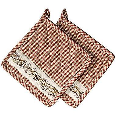 Burgundy Berry Vine on Check Plaid 8 x 8 Inch All Cotton Applique Pot Holder Set of 2