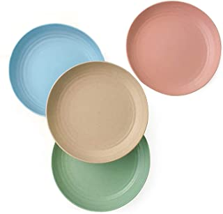 4 Pcs Reusable and Unbreakable Cereal Dinner Plates Beige Eco Friendly Tableware Plates for Fruit Dessert Noodle Steak LELE LIFE Large Wheat Straw Plates 10 Inch
